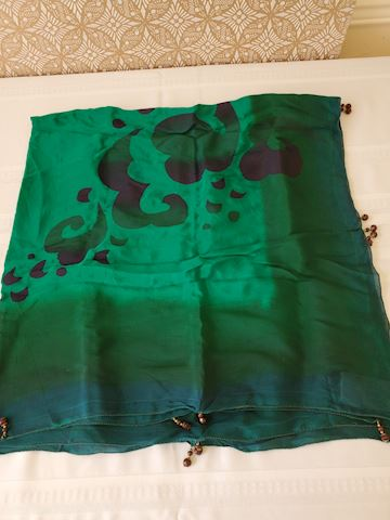 Green silk scarf with beaded edge work