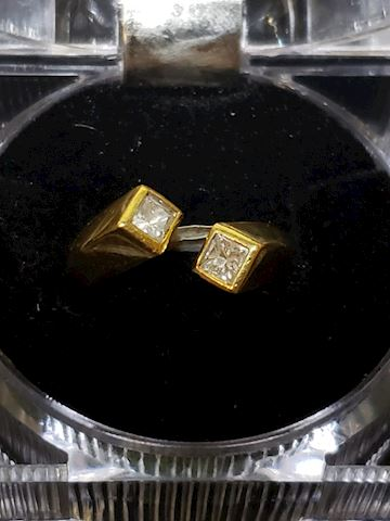 .50ctw Princess Cut in 18k gold adjustable ring