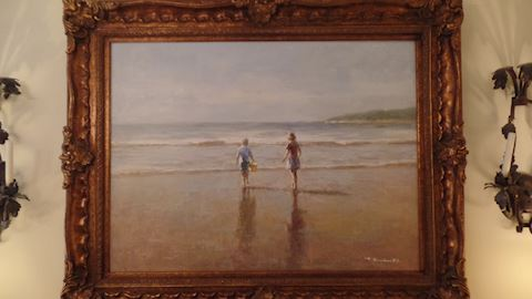 Children on a Beach Oil Painting