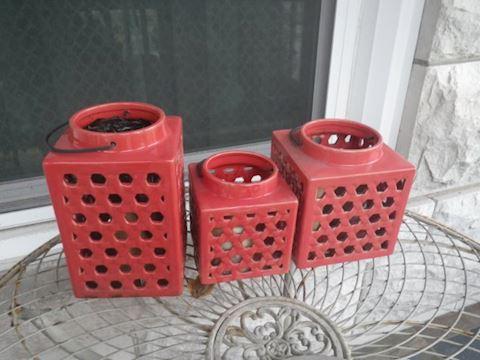 Three Red Patio Luminaries
