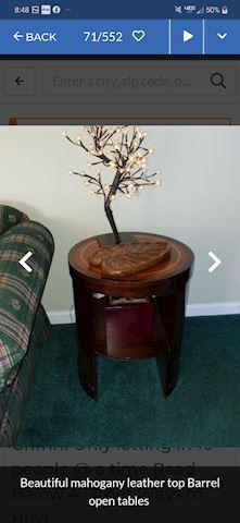 Pair Antique Mahogny Barrel End Tables
