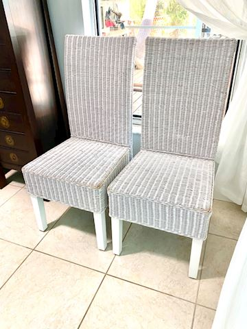 Charming White Wicker High Back Chairs