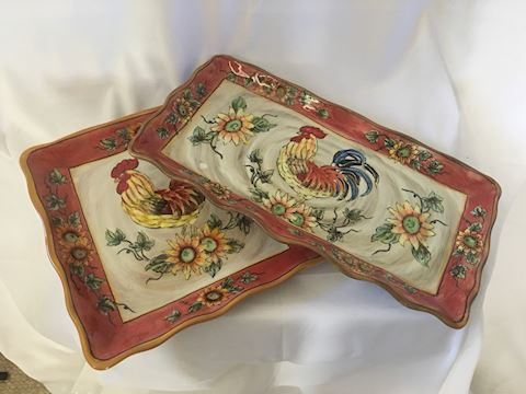 Lot of 2 Decorative Ceramic Rooster Plates