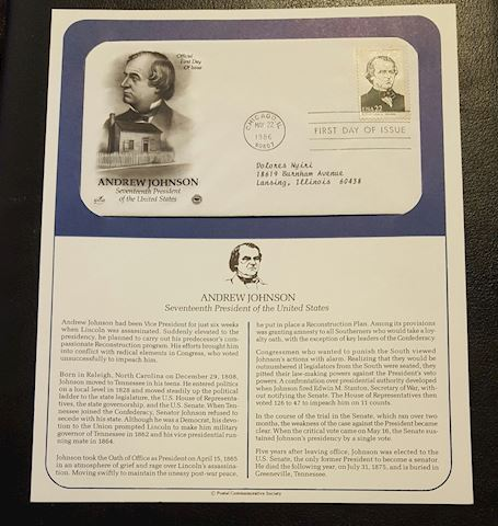 Andrew Johnson 1986 First Day Cover