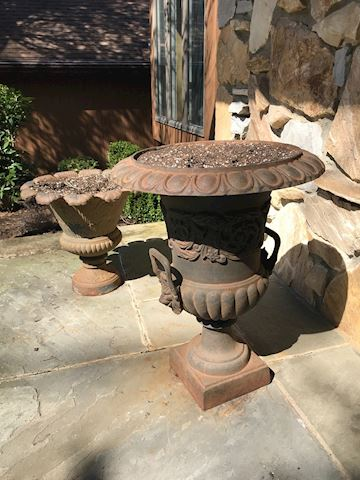 2 Black Iron  vase