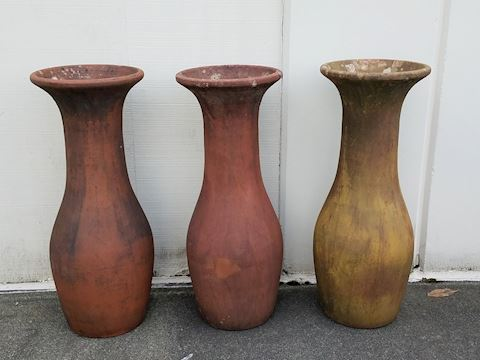Terra Cotta Fluted Patio Vases