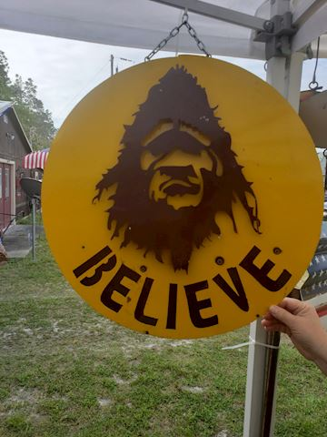 Round Metal believe sasquatch sign