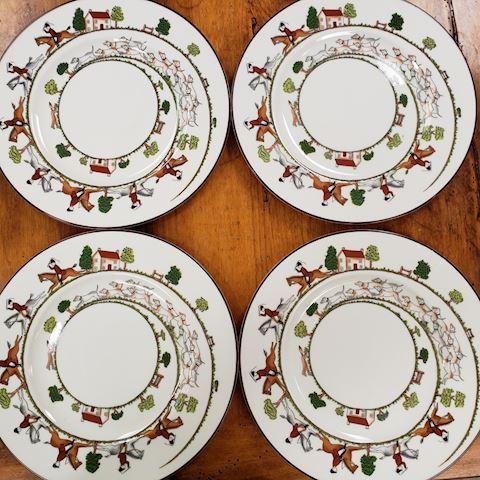 "4 COALPORT HUNTING SCENE DINNER PLATES 10-3/4"""