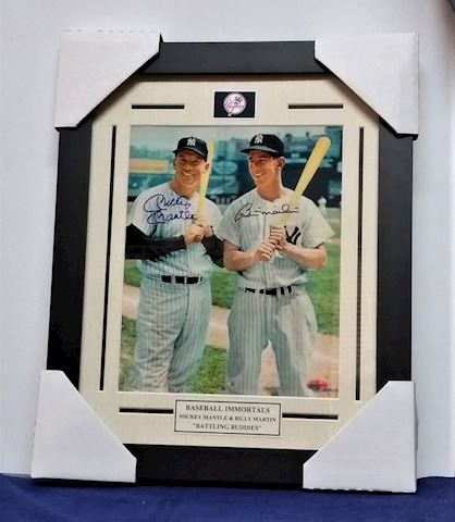 Autographed Picture Mickey Mantle & Bill Martin