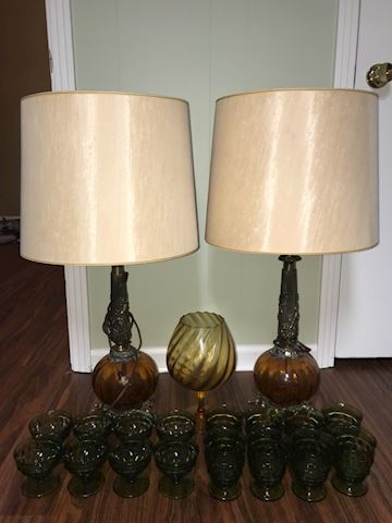 Vintage lamps and glassware