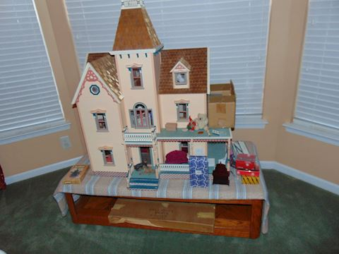 Custom-Made Doll House filled with miniatures