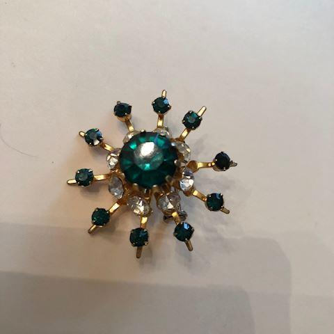 Vintage Green Starburst brooch