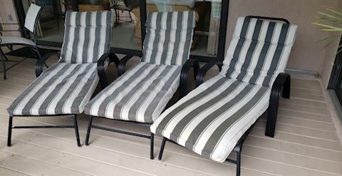 Set of 3 Fabric Covered Iron Loungers