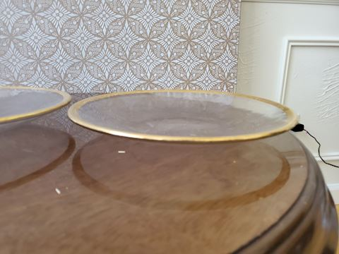 Pair of clear platters with gold rims D-33
