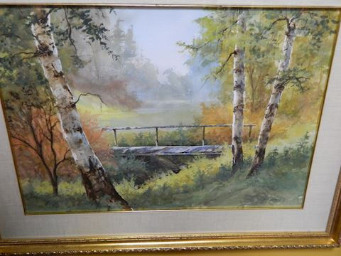 Fall Colors - Birch Tree and Bridge - Mark Ogle