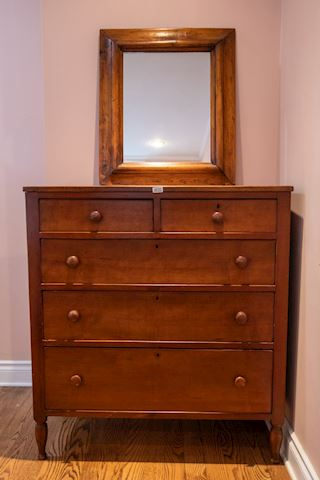 0020 Walnut Chest of Drawers Oak frame Mirror