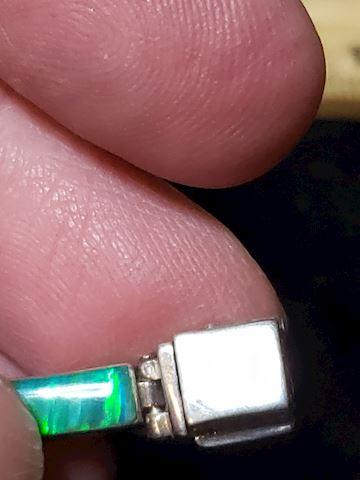 950 Silver and Green Fire Opal Bracelet