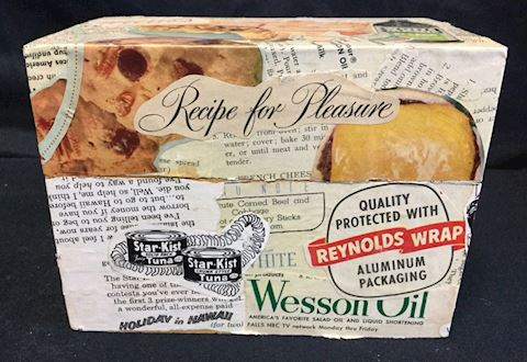 vintage decoupaged recipe box retro 80#02