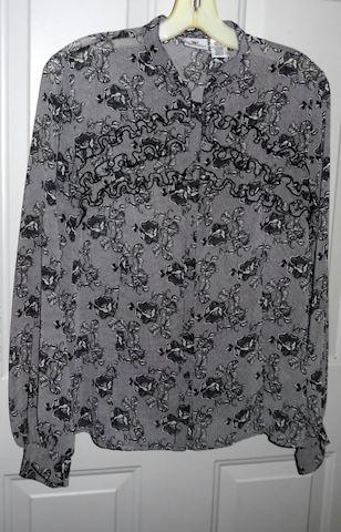 Worthington floral print Semi Sheer Blouse Medium