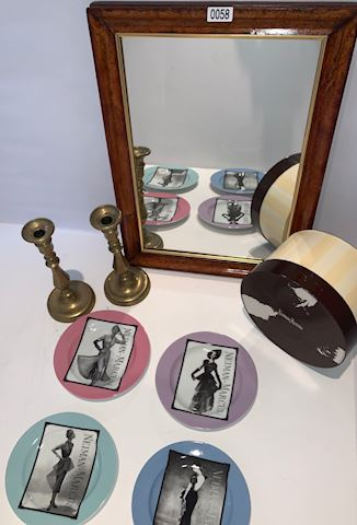 Lot 0058 Cherry Mirror and brass candle holders