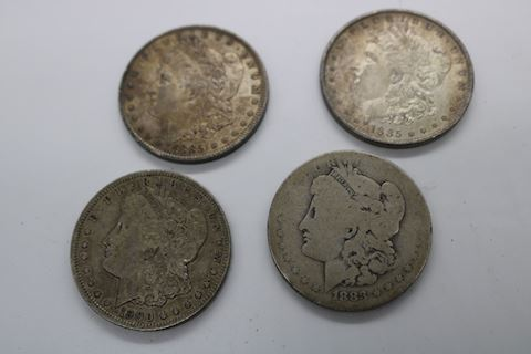 4 Silver Morgan Dollars 1883 1185 & 1900