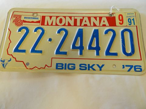 1976/91 MT License Plate