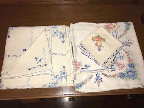 2 Sets of Vintage Embellished Tablecloths, Napkins