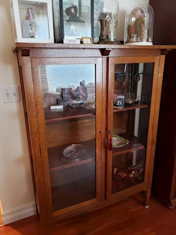 Antique Mission Style Oak Library Cabinet