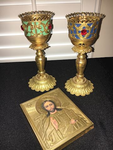 Souvenir Russian Icon and Votive Holders