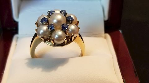 14K gold pearl and saphire ring