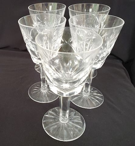 5 WATERFORD CUT CRYSTAL ASHLING CLARET WINE GLASS