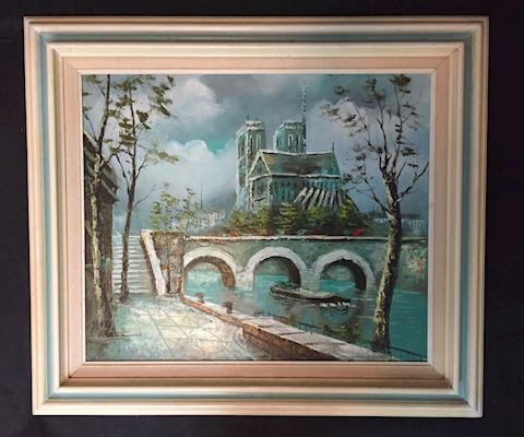 Waterside Canal Painting by P Gazete