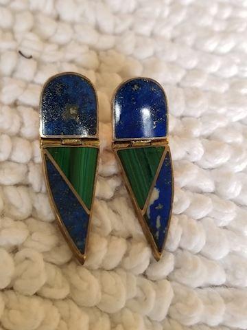 Lapis & Malachite Vintage Earrings
