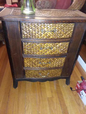 Quality Rattan Four Drawer Accent End Table