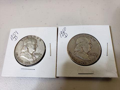 2-1957 D Ben Franklin Half Dollars