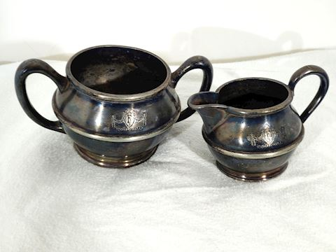 Antique Sugar Bowl and Creamer Silver Soldered