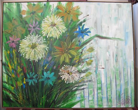 BIG Mid-Century Floral Painting LEE REYNOLDS 1967