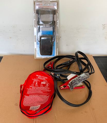 Jumper cables, ext trailer tow mirror Lot # 197