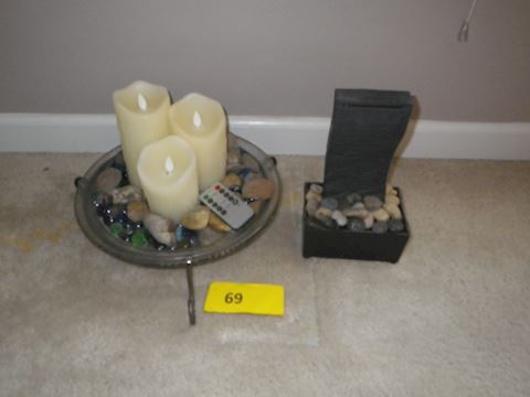 Lot #69- Small Water Feature,  and Electric Candle