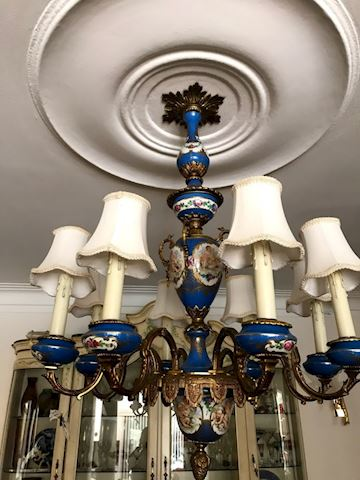 Sevres Style Porcelain Handpainted Chandelier