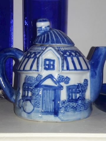 Blue Glass Tea Pot Tea Kettle