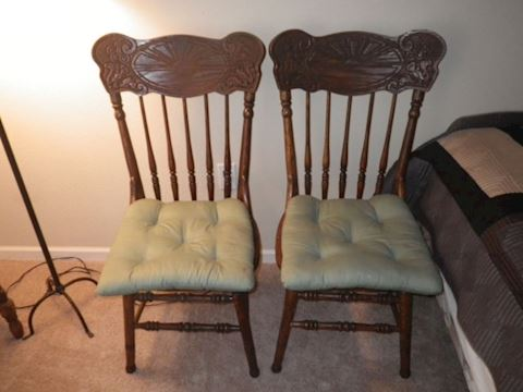 Pair of pressed back chairs