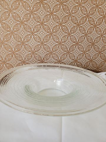 Clear art glass bowl with concentric circles