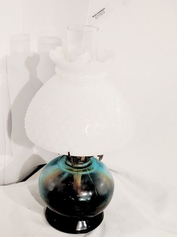 Oil Lamp w/ Milk Glass