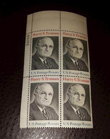 Vintage 1973 Harry S. Truman Plate Block of 4 8¢ S