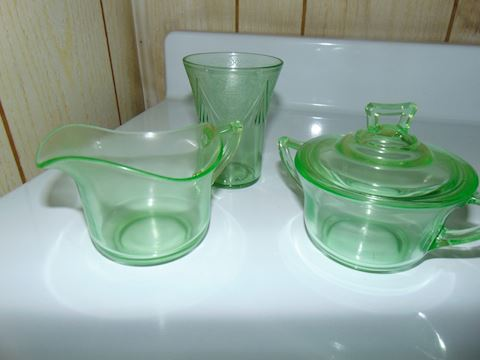 Vaseline Glass Serving Pieces