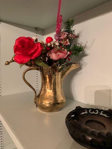 MB  112  Brass Tea Pot with Floral