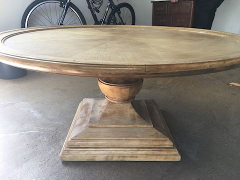 Round Wooden Low Pedestal Coffee Table