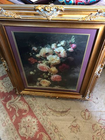Large floral framed art
