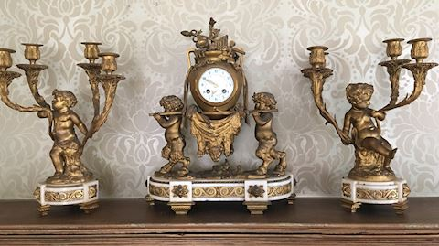 Antique French Bronze Clock Garniture Set Clodion
